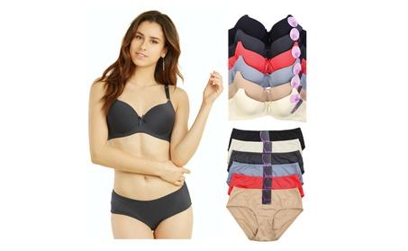 Uni Style Apparel Womens Demi Cup Plain Bra and Bikini Panty Set -12pc 8b763001-1f1d-4a98-9ac6-209b27574834