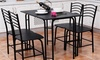 5 PCS Black Dining Set Table 4 Chairs Steel Frame Home Kitchen Furniture