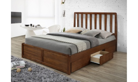 Idal Solid Rubberwood Walnut Finishing 6-drawer Storage Platform Bed