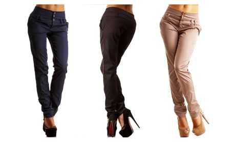 Women's Casual Stretchy Solid Color Slim Leg Trousers Pants 51043d9a-8254-4cf9-ab3b-bcfe17878e82