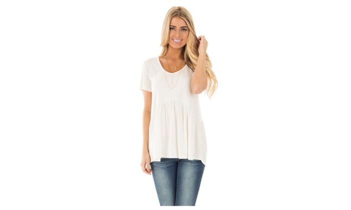 Women's White Sweetheart Neckline Babydoll Style T-shirt