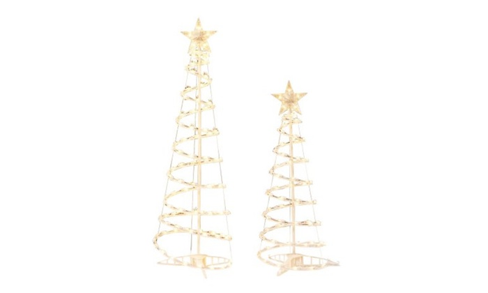 lighted spiral christmas tree sculptures clear lights 2 pack