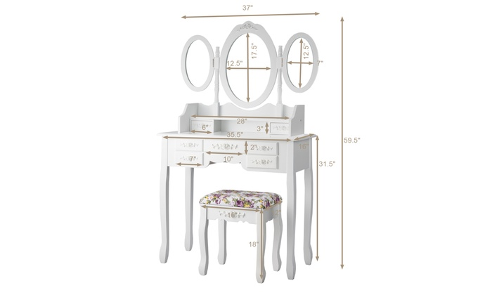 Tri-Folding Mirror Dressing Table