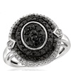 Jewelonfire 1 CT Black & White Diamond Oval Shape Ring in SS 18551