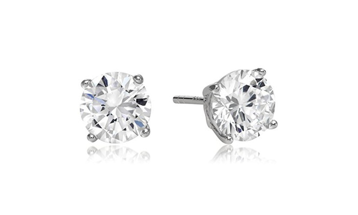 Sterling Silver Round 6mm Cubic Zirconia Stud Earrings
