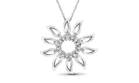 Jewelonfire Accent White Diamond Sun Flower Pendant in SS 8b935863-0cef-491c-8144-cc117b1677d1