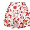 Women's Flared Stretch Soft Pleated Santa Claus Skater Mini Skirt
