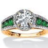 2.27 TCW CZ and Emerald Ring 18k Gold Over Silver