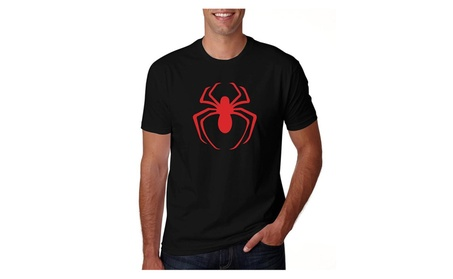 Men's Black Spider Man Red Logo T Shirt fa109cc8-1b76-4044-9445-2e42f4ff2880