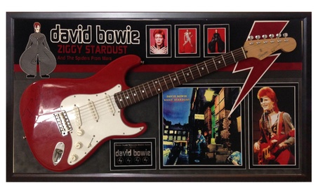 David Bowie - Signed Guitar Ziggy Stardust Theme in Wood Framed Case e63adc58-e744-4c33-979e-626481b9773d