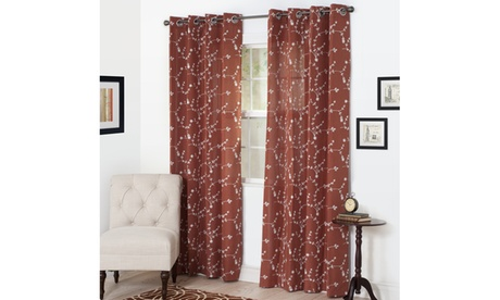 Semi Sheer Grommet Curtains - Floral Embroidered Window Curtain Panel, Set of 2 e3654804-6109-474d-a04f-ef094c41e298