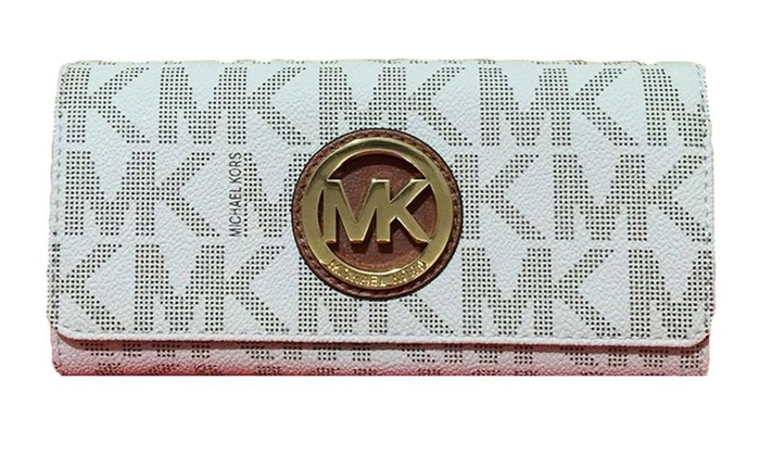 6912b17e3e81a1 Michael Kors Signature PVC Fulton Flap Wallet | Groupon