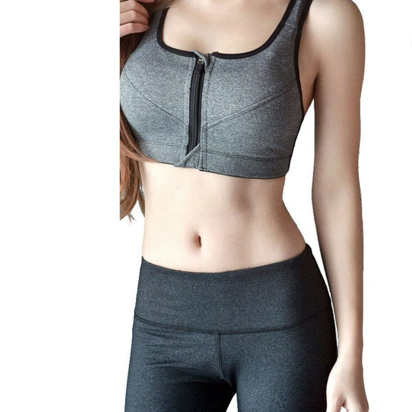Women High Impact Front Zip Wireless Padded Cup Tank Top Gym Active Sports-Bra