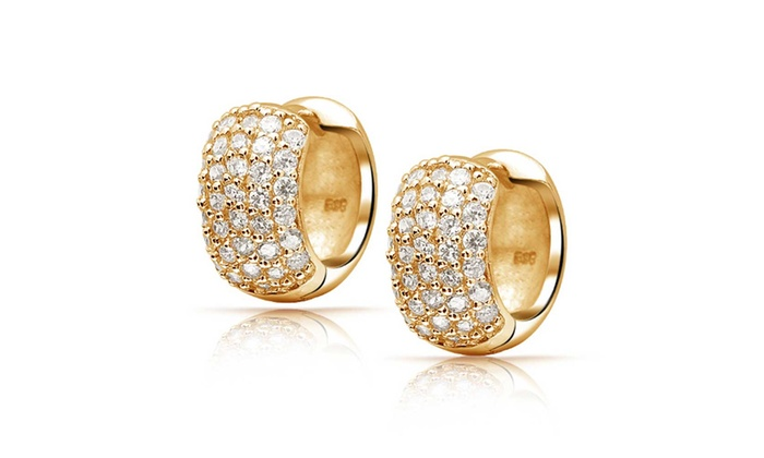 9a1344c1f8865 Pave CZ Wide Gold Vermeil Huggie Hoop Earrings
