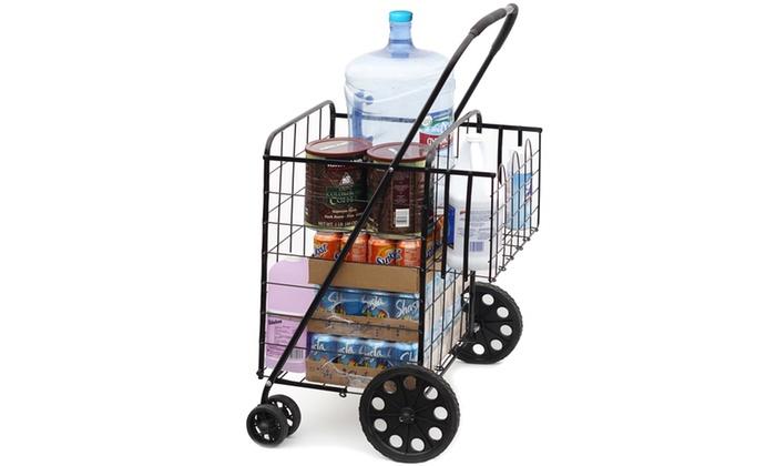 Folding Shopping Cart with Double Basket- Jumbo Size 150 lb Capacity