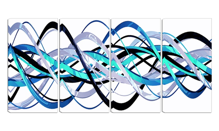 Blue and Silver Waves - Contemporary Wall Art - 48x28 - 4 Panel ...
