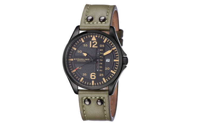 e298344aa Stuhrling Original Men's Genuine Leather Strap Watch with Date Dial Color:  Black, Band Color: Green, Case Color: Black