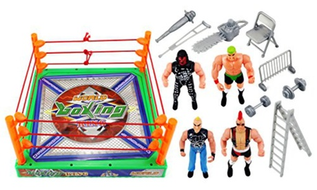 World Boxing King Wrestling Toy Figure Set w/ Ring, 4 Toy Figures, Accessories e04acb1e-9809-4045-a789-93768def4243