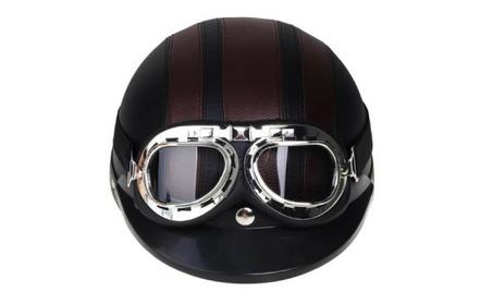 Carchet Vintage Motorcycle Helmet with Goggles b6ca8ed5-186c-480d-9fb9-8eb24e8a1756