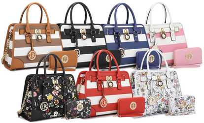Groupon Mk Belted Collection Simon Satchel Handbag With Wallet By Dasein
