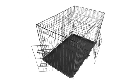 "48"" New Upgrades Folding Strong Wire Cage Large Dog Crate Pet Carrier Was: $99 Now: $56.99."