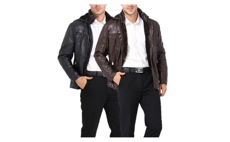 Men's Vintage Pilot Hooded Leather Jacket fd9d7f62-0f8a-40a5-9a5e-105e2b997443