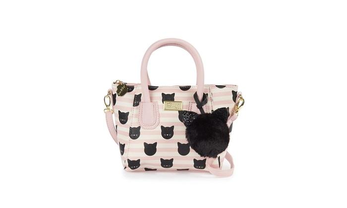 6488f4bb12cb Betsey Johnson Kitty Cat Pink White Striped Crossbody Dome Satchel