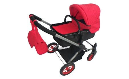 Modern Bassinet Doll Stroller Red Quilted 7a8ca8ab-c826-4db4-9f58-4075cf0c3b23
