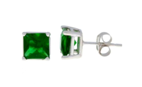 .925 Sterling Silver Lab-Created Emerald Princess Cut Stud Earrings 681b2ca0-2d0b-49ed-9d18-6a27aeef996a