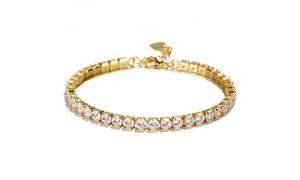 18K Gold over Sterling Silver Genuine Crystal Tennis Bracelet