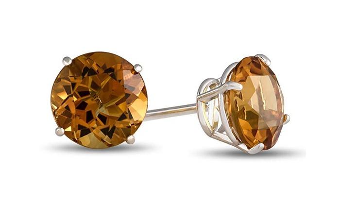10k White Gold Round 7mm Citrine Stud Earrings