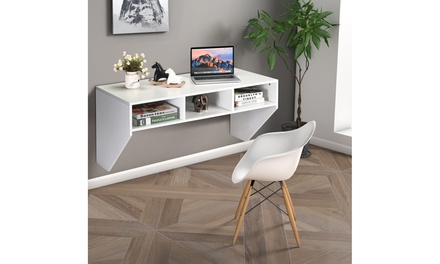 Wall Mounted Floating Computer Table Desk Home Office Furni Storage Shelf White