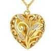 18K Gold Plated Micro-Pav'e Filigree Heart Shaped Necklace