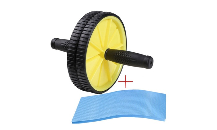 Dual Ab Wheel for Abs / Abdominal Roller Workout Exercise Fitness - yellow