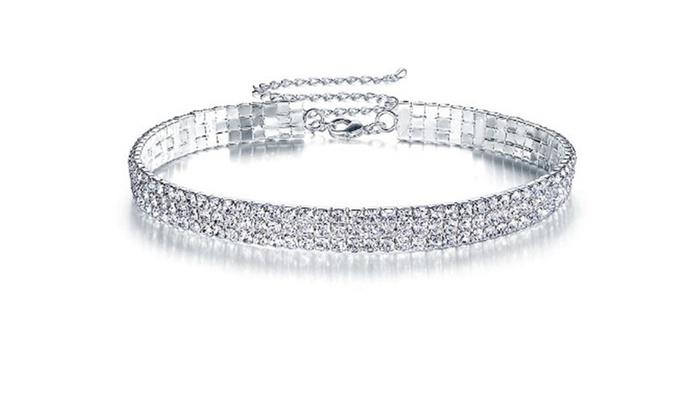 e556ea76d0 Prom 3 Row Stretch Rhinestone Choker Necklace
