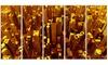 Golden City from the Sky Metal Wall Art 60x28 5 Panels