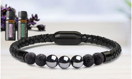 Aromatherapy Lava Diffuser Leather Bracelet with Optional Essential Oils