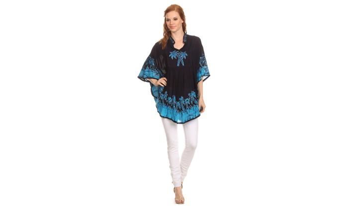 Sakkas Kevitas Long Palm Tree Tie Dye Tunic Blouse Shirt Poncho Top