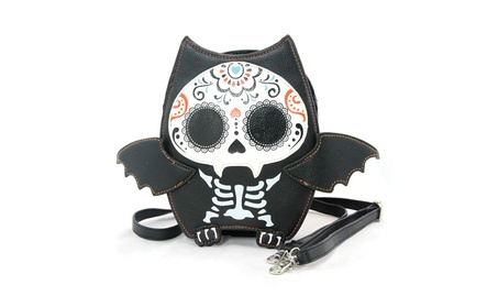 Sleepyville Critters Sugar Skull Day of the Dead Bat Crossbody Purse (Goods Women's Fashion Accessories Handbags Cross-Body) photo