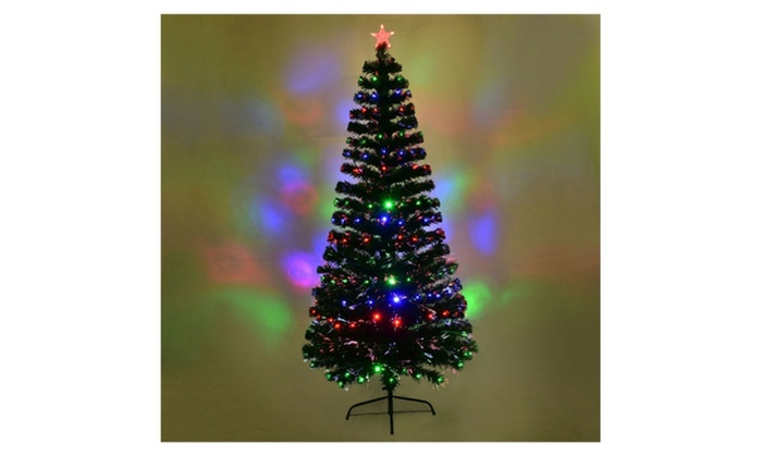 costway 7ft fiber optic artificial christmas tree w275 multi color