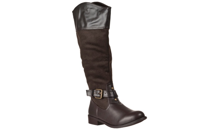 Riverberry Women's 'Betsey' Round-toe Knee-high Boots, Brown