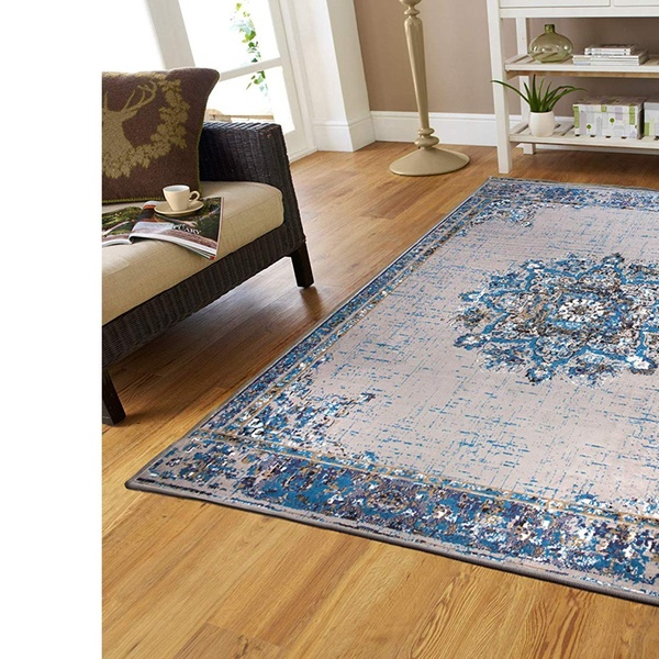 Traditional Area Rugs Distressed Blue Cream Living Room Rug 8x10 Cream  Runner
