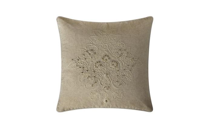 Katarina Embroidered Cotton Decorative Pillow Groupon