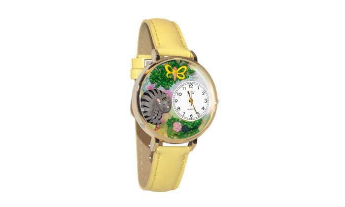 Clickhere2shop: Whimsical Cat Nap Yellow Leather And Goldtone Watch