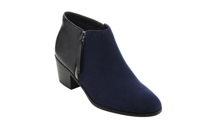 Beston FE07 Women  Casual Stacked Block Heel Side Zipper Ankle Booties