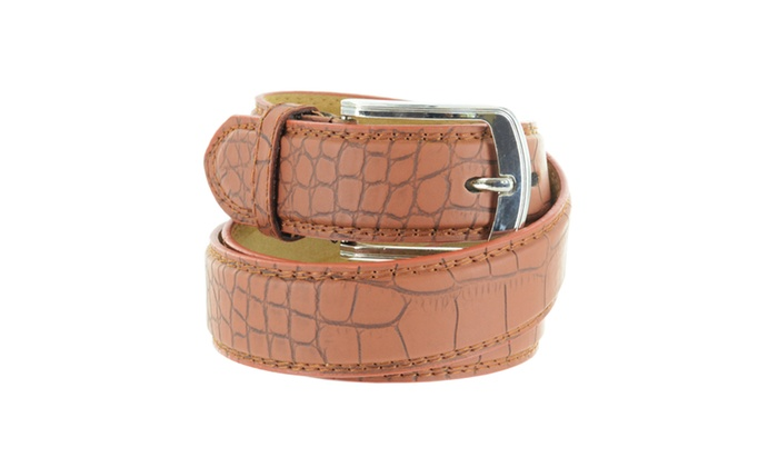 Faddism Unisex Croc Embossed Leather Belt