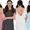 Lyss Loo Women's Cross Back Sleep Shirt. Plus Sizes Available.