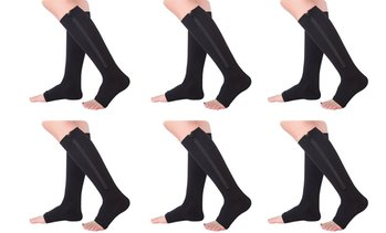 Open Toe Compression Zipper Socks (3-Pairs or 6-Pairs)