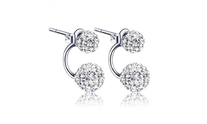 18k White Gold Sterling Silver Shamballa Double Ball Stud Earrings