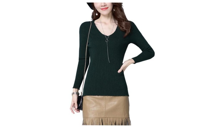 Women's Straight Hem Solid Pullovers Sweater